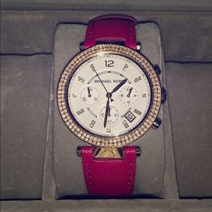Michael Kors Gold and Crystal watch magenta